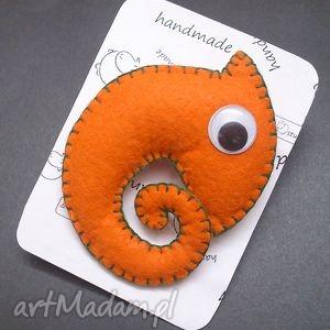broszka pomarańczowy kameleon, filc