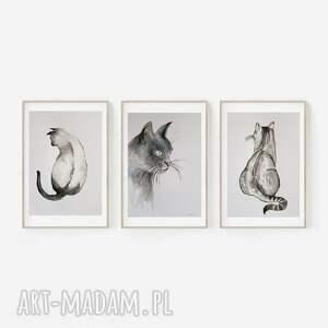 trzy akwarele-kotki-każda formatu a4, akwarela, tusz, koty, papier