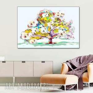 obraz na płótnie wiosenne drzewo 120 x 80, nowoczesny do pokoju dziennego