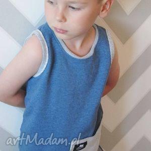 niebieski bezrękawnik dla chłopca, bluzka, bezrękawnik, lato, moda dziecka