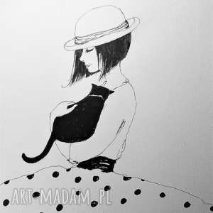 rysunek piórkiem dziewczynka z kotem artystki plastyka adriany laube