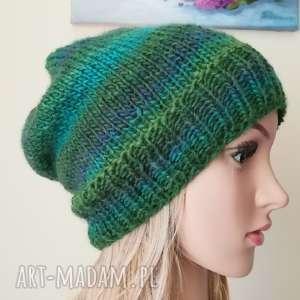 zielenie czapka, rękodzieło, bezszwowa, dwustronna, styl, druty, święta