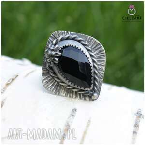 onyks i srebro - pierścionek 1444a rozmiar 13,5, onyks, srebro