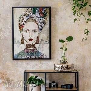 plakat 100x70 cm - kobieta w turbanie, plakat, wydruk, twarz, postać