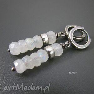 kamień księżycowy z przekładką - kolczyki, srebro, księżycowy, kolczyk