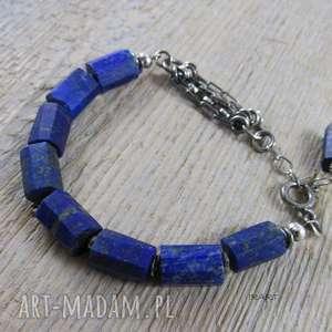 Bryłki lapis lazuli - bransoletka , srebro, lapis, lazuli, oksydowane,