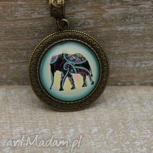 Boho wisiorek słoń, kolorowy, słonik, boho, naszyjnik, medalion