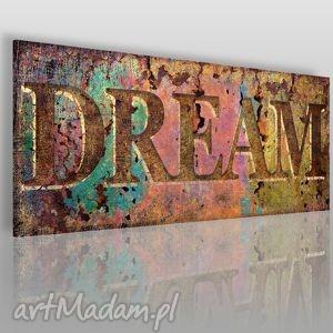 obraz na płótnie - napis dream 120x50 cm 11501, dream, napis, vintage, retro