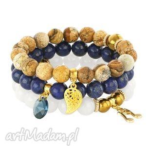 lapis lazuli stone, jasper jade set - lapis, jadeit, jaspis, swarovski bi 380 uteria