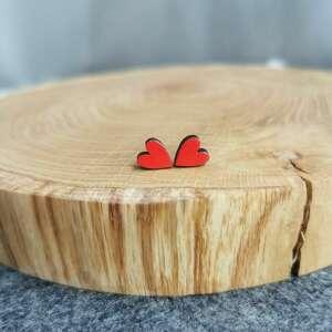 homemade by n kolczyki serca, stal chirurgiczna, drewno naturalne