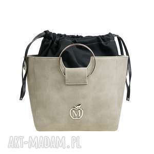 MANZANA torebka z kółkiem i ściąganym workiem szara muflon, torebka, damksa, worek
