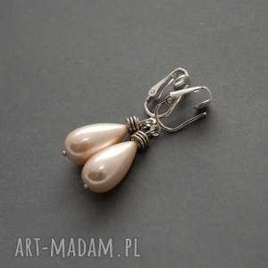 klipsy z perłą seashell, eleganckie, perła, brzoskwiniowe, wiszące, perełka