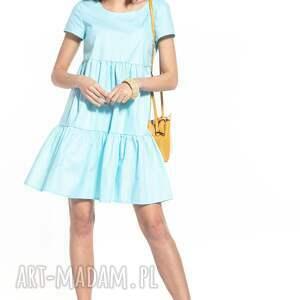 sukienki sukienka mini z dwoma falbanami bawełny, t337, jasnoniebieska