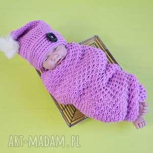 zestaw - czapeczka owijka nb, sesja, foto, niemowlak, noworodek, zestaw, owijka
