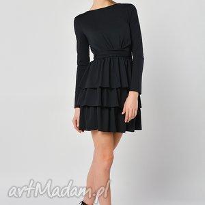 sukienki cristina botanika - czarna sukienka z falbanami