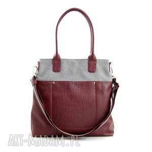 incat fiella - duża torba szara plecionka i burgund, modna, wygodna