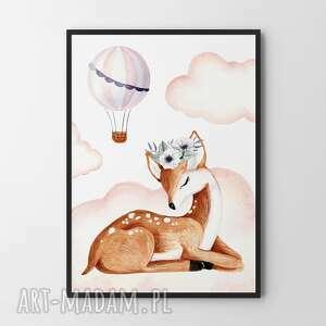 Plakat obraz sarenka w chmurach 50x70 cm b2 pokoik dziecka