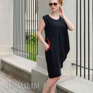 sukienki czarna letnia sukienka z bawełny asymetryczna, tunika, sukienka, luźna