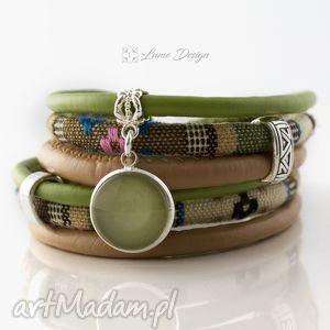bransoletka z rzemieni green boho, zwijana, oplatana, rzemienie, haftowana