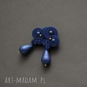 kobaltowe klipsy sutasz, sznurek, wyjściowe, granatowe, eleganckie, wiszące