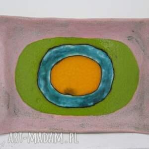 prostokątny dekoracyjny talerz, patera, ceramiczna, dekoracyjna, ceramiczny