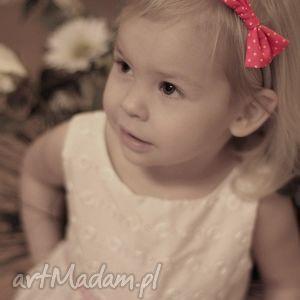 Opaska LADY z kokardką - pink dots, bezuciskowa, tradycyjna, słodka, kokardka