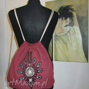 plecak worek haft, lniany, folk, parzenica, plecak, worek, wyjątkowy