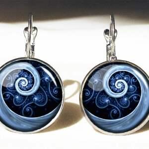 niebieska spirala - duże kolczyki wiszące - eleganckie, kaboszon
