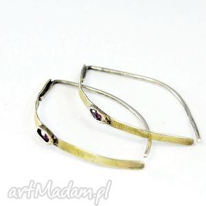 Rubinki zgustem kolczyki, srebro, 925, złocone, rubin