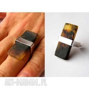 pierścionek srebrny z bursztynem - prezent, bursztyn, bursztyny, pierścionek