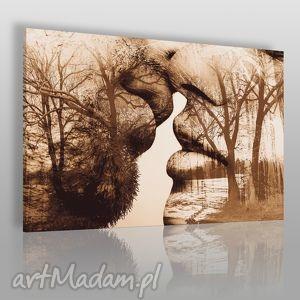 obrazy obraz na płótnie - pocałunek drzewa 120x80 cm 29502, pocałunek, para, miłość