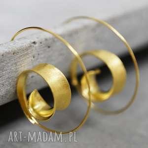 hand-made kolczyki 925 pozłacane kolczyki spiralne brunei