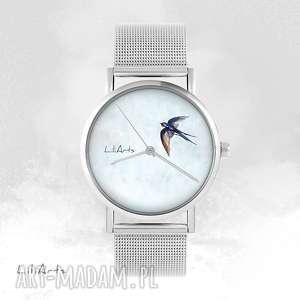 Zegarek, bransoletka - jaskółka metalowy zegarki liliarts