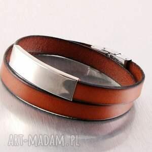 bransoletka unisex, minimalistyczna, z zapięciem na klamrę, skórzana