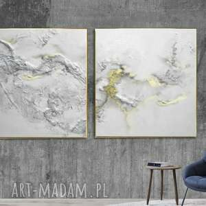 biała elegancja dyptyk - obraz na płótnie, bialy obraz, modny salon