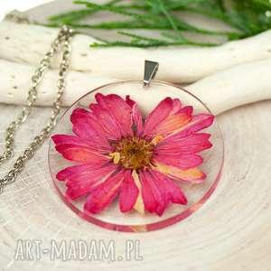naszyjnik z suszonymi kwiatami, herbarium jewelry, rośliny w żywicy z190, kwiaty