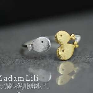 925 Srebrny pierścionek RODZINA , pierścionek, ryby, rodzina, srebro, złoto