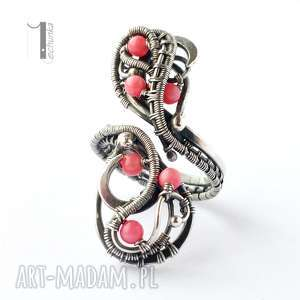 Sorbus I srebrny pierścień z koralem , srebro, 925, koral, wirewrapping, różowy
