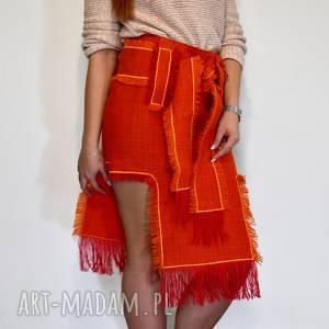 spódnice indiańska pomarańczowa spódnica, spódniczka, frędzle