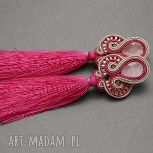 kolczyki sutasz z kocim okiem, sznurek, eleganckie, wiszące, beżowe, długie