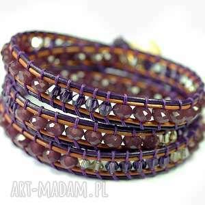 hand made biżuteria snake wrap: fiolet na trzy