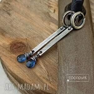 kolczyki patyczki z kamieniami - srebro 925 - niebieskie, kolczyki srebro