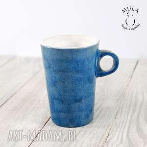 hand-made ceramika kubek niebiesko -biały