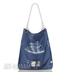e30384845c685 marynarski worek z blachą, worek, marynarski, plażowy, okręty, statki,  bawełniana