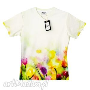 artystyczny t-shirt damski jakość premium, tulipany, wiosenne, kwiaty, bluzka, modna