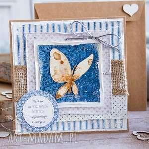 handmade kartki kartka z motylem, w kopercie. Personalizacja treści