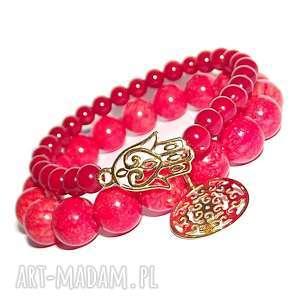 komplet soczysty pomarańczowo czerwony, rozeta, ręka, fatimska, charms, kamienie