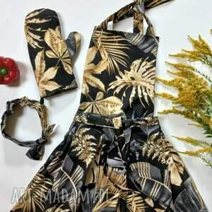 handmade elegancki fartuch kuchenny z rękawicą i opaską