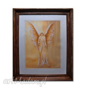 obrazy anioł eloah, obraz w ramie, anioł, obraz, ręcznie, malowany, rama