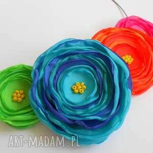 pomysł jaki prezent pod choinkę Kwiatowa kolia - naszyjnik z tkaniny, kwiaty,